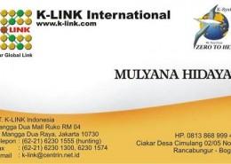 Kartu Nama Member K-Link (depan)